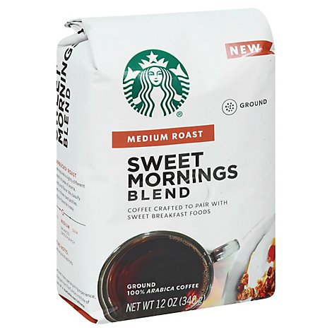 Starbucks Coffee Ground Medium Roast Sweet Mornings Blend Bag - 12 Oz