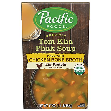 Pacific Foods Organic Soup Tom Kha Phak With Chicken Bone Broth - 17 Oz