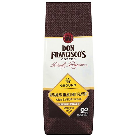 Don Franciscos Coffee Family Reserve Coffee Ground Medium Roast Hawaiian Hazelnut - 12 Oz