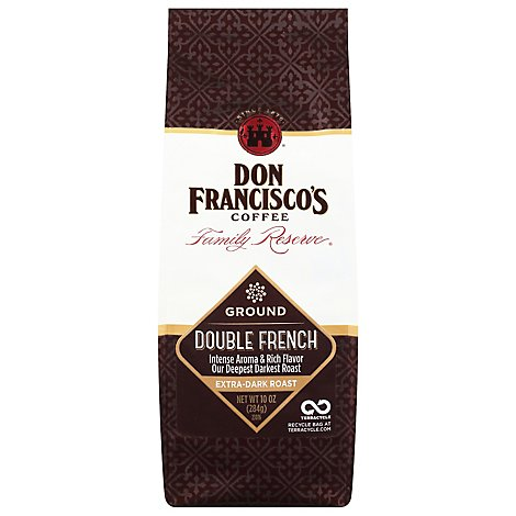 Don Franciscos Coffee Family Reserve Coffee Ground Dark Roast Double French - 10 Oz