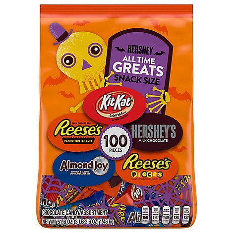 Hersheys Chocolate Candy Pieces Assorted All Time Greats Snack Size 100 Count - 51.6 Oz