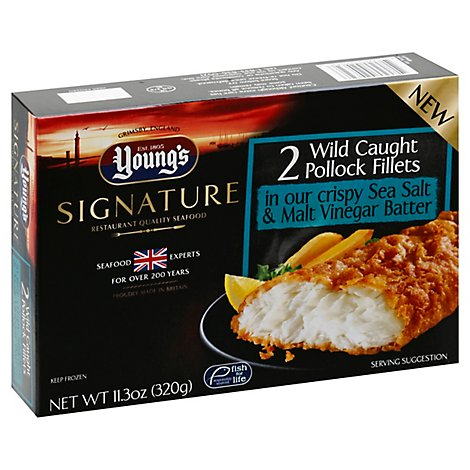 Youngs Sea Salt & Vinegar Pollock Fillet - 11.3 Oz