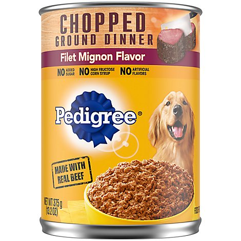 Pedigree Dog Food Adult Wet Chopped Ground Dinner Filet Mignon Flavor - 13.2 Oz