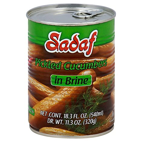 Sadaf Cucumbers Pickled In Brine Large 7 To 9 - 18.3 Fl. Oz.