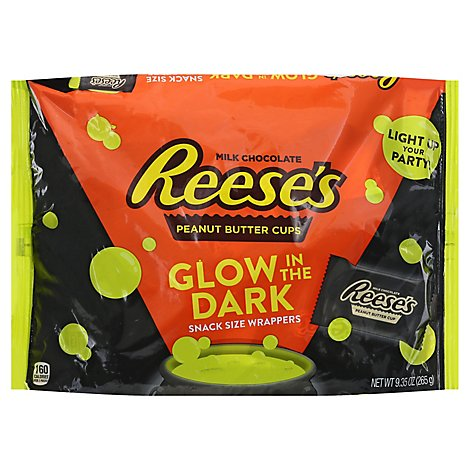 REESES Peanut Butter Cups Milk Chocolate Glow In The Dark Snack Size - 9.3 Oz
