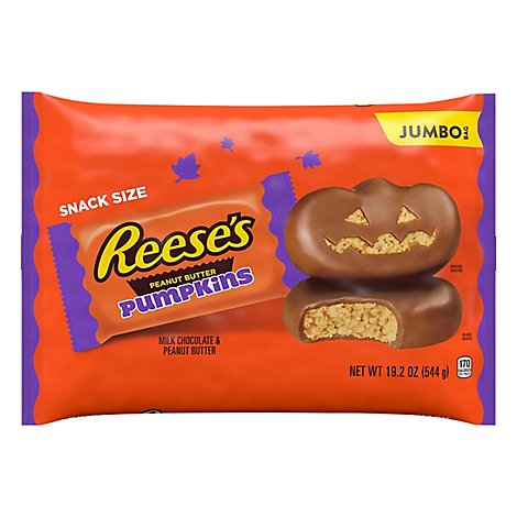 REESES Peanut Butter Milk Chocolate Pumpkins Snack Size Jumbo Bag - 19.2 Oz