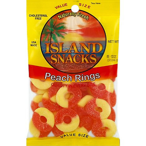 Island Snacks Peach Rings Value Size - 8 Oz