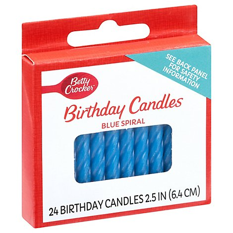 Betty Crocker Candles Birthday Blue Spiral - 24 Count