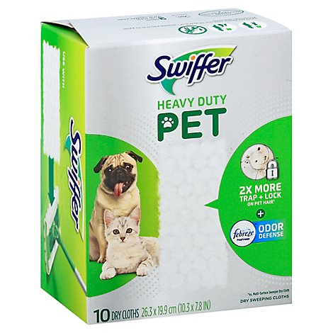 Swiffer Mopping Cloths Dry Pet Heavy Duty With Febereze Odor Defense - 10 Count
