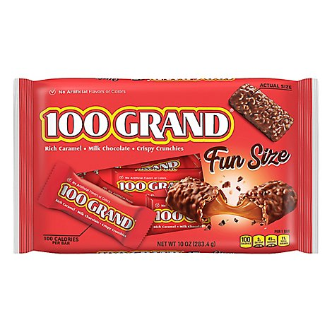 100 Grand Milk Chocolate Chewy Caramel & Crispy Crunchies Fun Size - 10 Oz