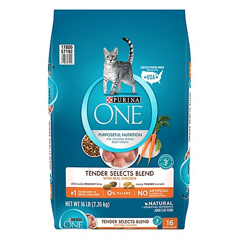 Purina One Cat Food Adult Tender Select Blend With Real Chicken - 16 Lb