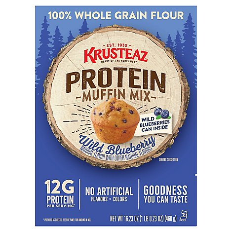 KRUSTEAZ Protein Muffin Mix Wild Blueberry - 16.23 Oz