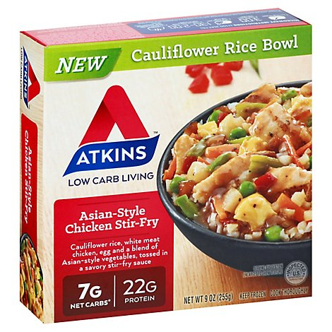 Atkins Cauliflower Rice Bowl Asian Style Chicken Stir Fry - 9 Oz