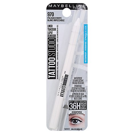 Maybelline TattooStudio Gel Pencil Sharpenable Waterproof Polished White - 0.04 Oz