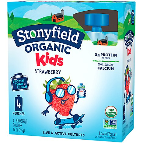 Stonyfield Organic Kids Yogurt Lowfat Strawberry Pouches - 4-3.5 Oz