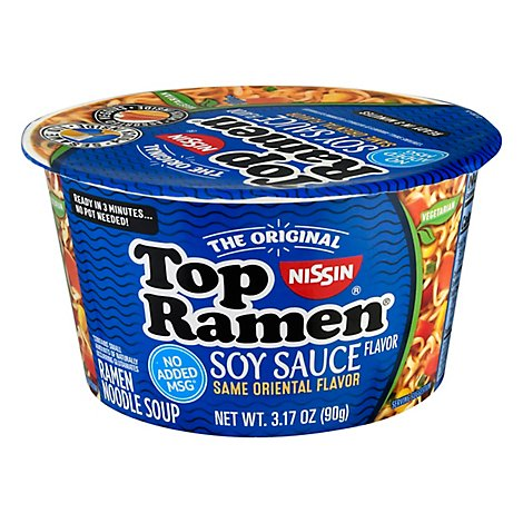Nissin Top Ramen Bowl Soy Sauce - 3.174 Oz
