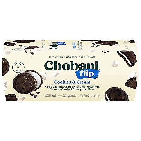 Chobani Flip Yogurt Greek Low Fat Cookies & Cream - 4-5.3 Oz