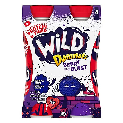 Danimals Wild Yogurt Drink Nonfat Berry Blast - 4-7 Fl. Oz.