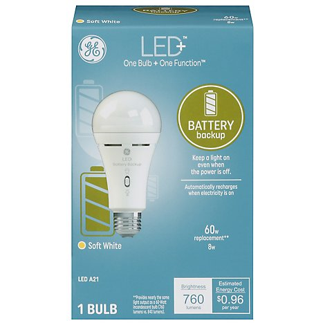 GE Light Bulb LED+ Soft White Battery Backup 60 Watts A21 - Each