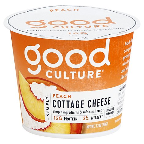 good culture Simply Cottage Cheese 2% Milkfat Peach - 5.3 Oz