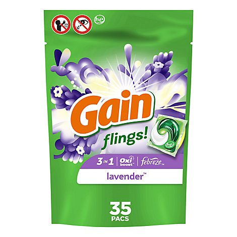 Gain Flings! Detergent Capsules 3 In 1 Lavender 35 Count - 27 Oz