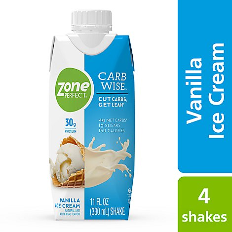 ZonePerfect Carb Wise Shake Ready To Drink Vanilla Ice Cream - 4-11 Fl. Oz.