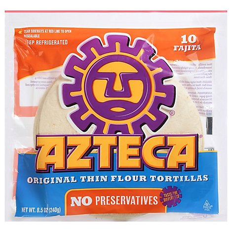Azteca Tortillas Flour Soft Taco Size 10 Count - 8.5 Oz