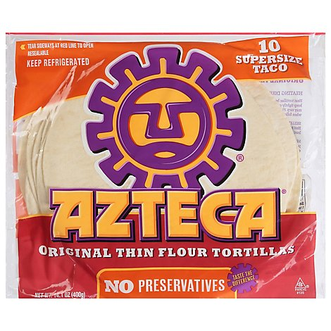 Azteca Tortillas Flour Super Size 10 Count - 14.1 Oz