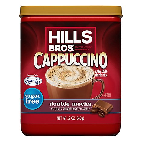 Hills Bros. Drink Mix Cafe Style Sugar Free Cappuccino Double Mocha - 12 Oz