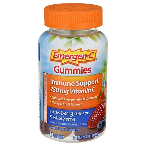 Emergen-C Immune Support Vitamin C Gummies Strawberry Lemon And Blueberry 500 mg - 45 Count
