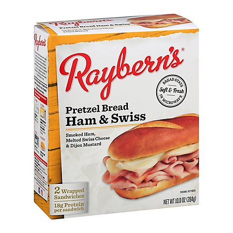 Rayberns Sandwiches Pretzel Bread Ham And Swiss 2 Count - 10 Oz