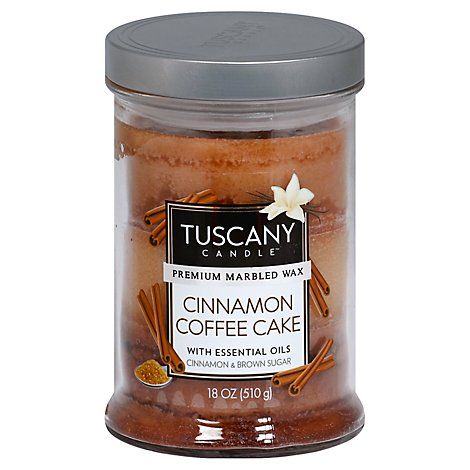 Tuscany Candle Premium Marbled Wax Candle Cinnamon Coffee Cake - 18 Oz