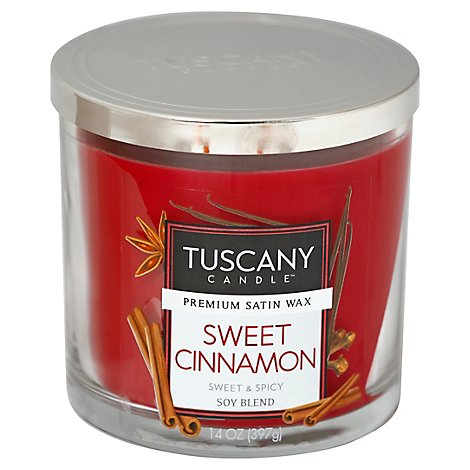 Tuscany Candle Premium Satin Wax Candle Soy Blend Sweet Cinnamon - 14 Oz