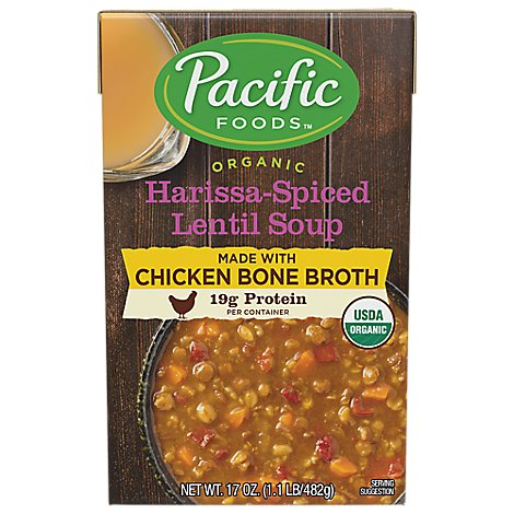 Pacific Foods Organic Soup Harissa Spiced Lentil With Chicken Bone Broth - 17 Oz