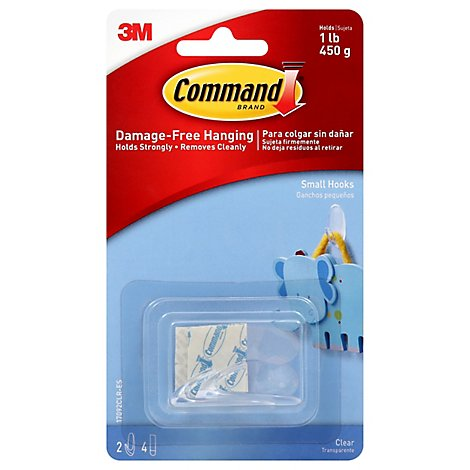 Command Hook 2 Clear Hooks With 4 Clear Strips Small - Each