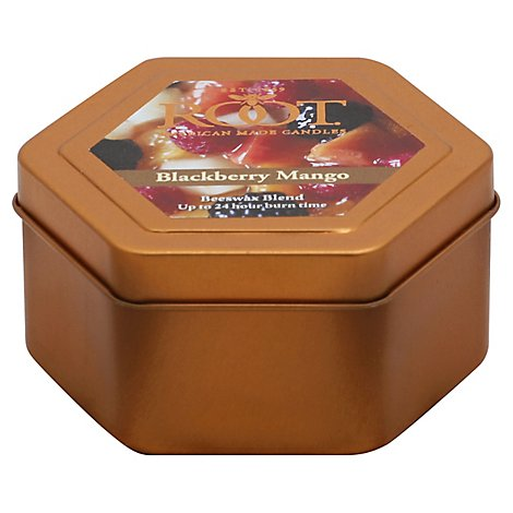 Root Candle Beeswax Blend Blackberry Mango Traveler Tin 4 Ounce - Each