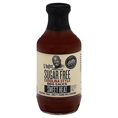 G Hughes Sauce Bbq Sugar Free Carolina Style Sweet Heat - 17 Oz