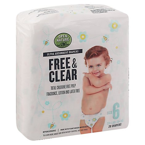Open Nature Free & Clear Diapers Size 6 - 20 Count