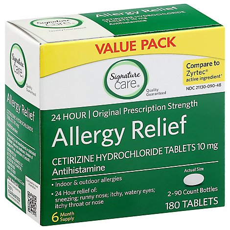 Signature Care Allergy Relief Cetirizine Tabs - 180 Count