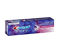 Crest 3D White Toothpaste Fluoride Anticavity Whitening Radiant Mint - 4.1 Oz