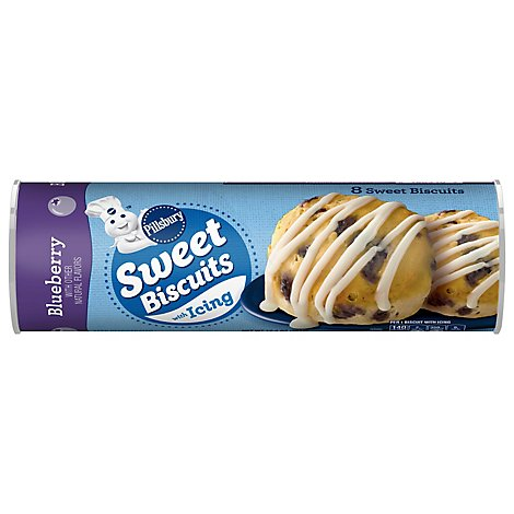 Pillsbury Sweet Biscuits With Icing Blueberry 8 Count - 12.4 Oz