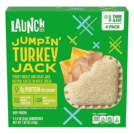 LaunchBox Frozen Sandwiches Jumpin Turkey & Colby Jack 4 Count - 7.62 Oz