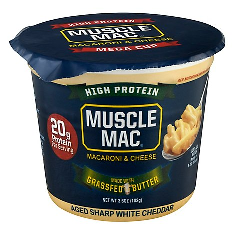 Muscle Mac Macaroni & Cheese Aged Sharp White Cheddar Mega Cup - 3.6 Oz