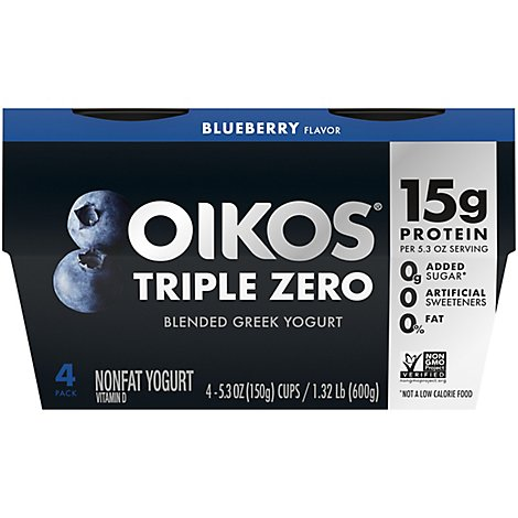 Oikos Triple Zero Greek Yogurt Blended Nonfat Blueberry - 4-5.3 Oz