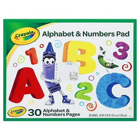 Crayola Alphabet & Numbers Pad 10x8 Inch 30 Sheets - Each