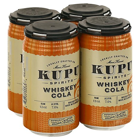 Kupu Spirits 4pk Can Whiskey Cola - 4-12 Fl. Oz.