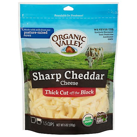 Organic Valley Organic Cheese Finely Shredded Sharp Cheddar - 6 Oz