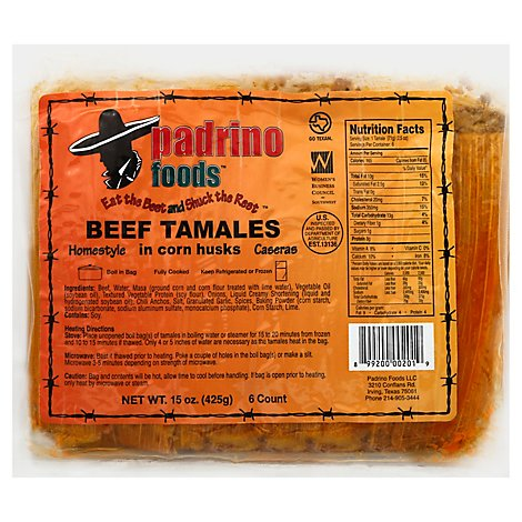 Padrino Foods Tamales Beef In Corn Husks - 15 Oz