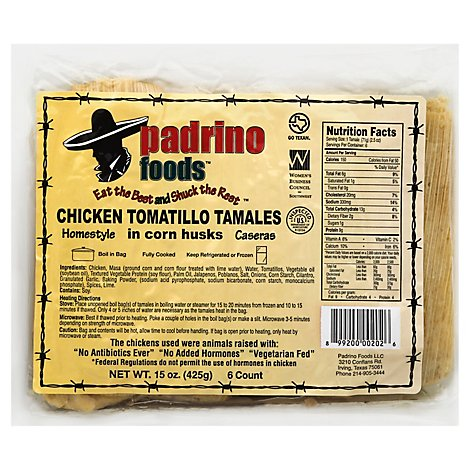 Padrino Foods Tamales Chicken Tomatillo In Corn Husks - 15 Oz