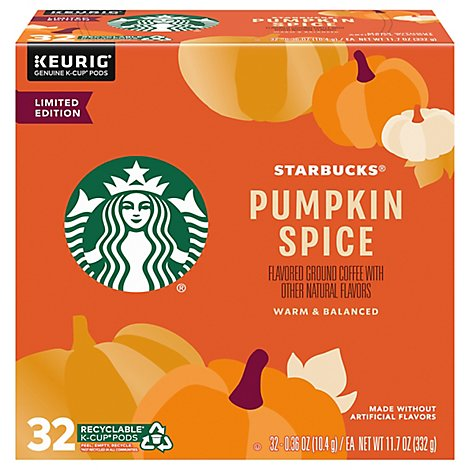 Starbucks Coffee K-Cup Pods Flavored Pumpkin Spice Limited Edition Box - 32 Count